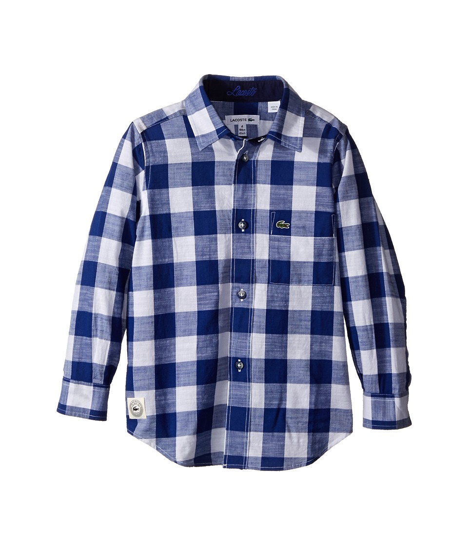 Lacoste Kids - Long Sleeve Large Check Woven Shirt (Little Kids/Big Kids) (Dark Explorer Blue/White) Boy's Clothing