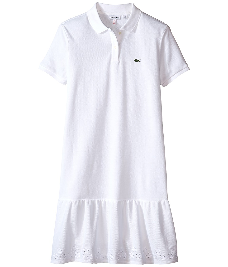 Lacoste Kids - Short Sleeve Drop Waist Eyelet Trim Pique Polo Dress (Toddler/Little Kids/Big Kids) (White) Girl's Dress