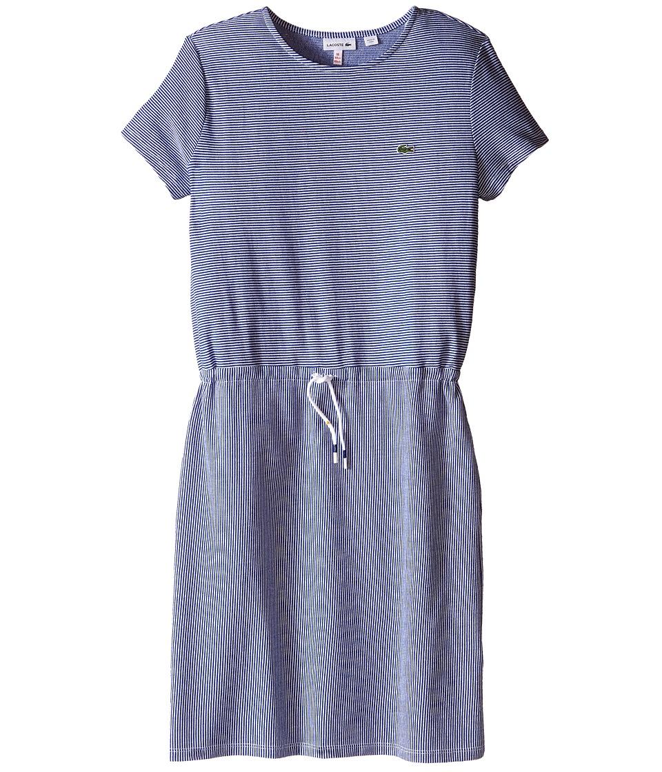 Lacoste Kids - Short Sleeve Multi-Directional Stripe Drawstring Dress (Toddler/Little Kids/Big Kids) (Explorer Blue/White) Girl's Dress