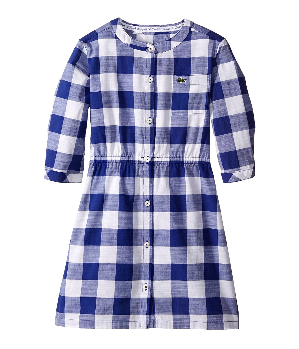 Lacoste Kids - Long Sleeve Checked Woven Dress (Little Kids/Big Kids) (Explorer Blue/White) Girl's Dress