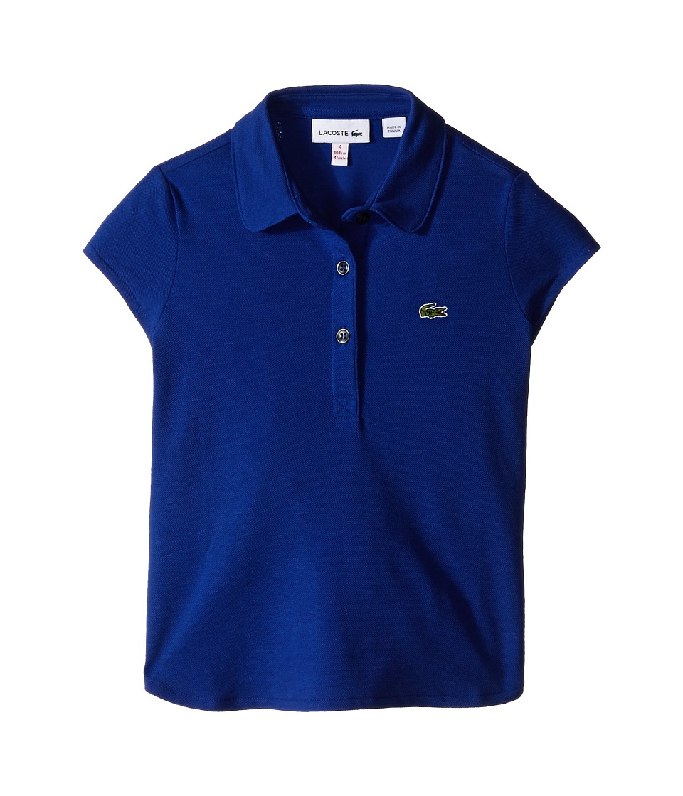 Lacoste Kids - Short Sleeve Fluid Pique Polo (Toddler/Little Kids/Big Kids) (Explorer Blue) Girl's Short Sleeve Pullover