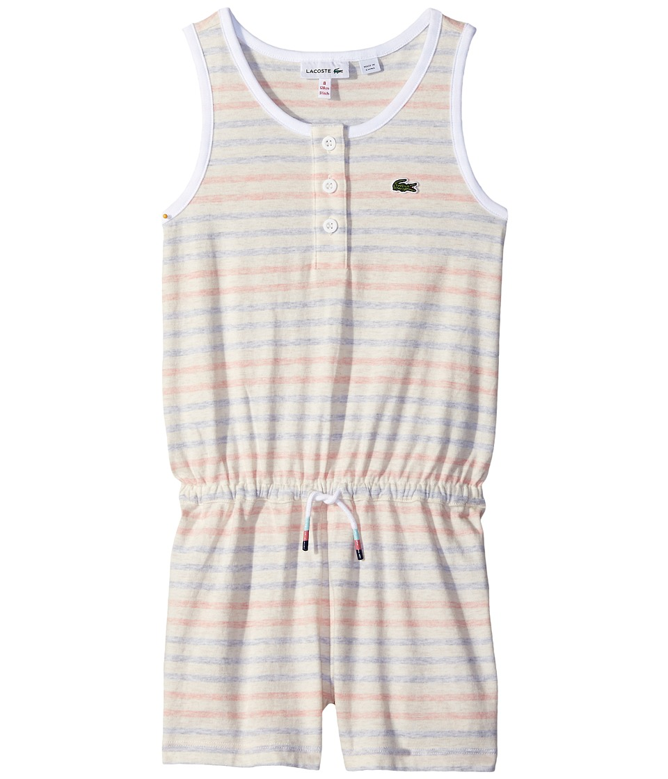 Lacoste Kids - Whitened Effect Heathered Stripe Romper (Toddler/Little Kids/Big Kids) (Ballet Pink Chine/White/Explorer Blue Chine) Girl's Jumpsuit & Rompers One Piece