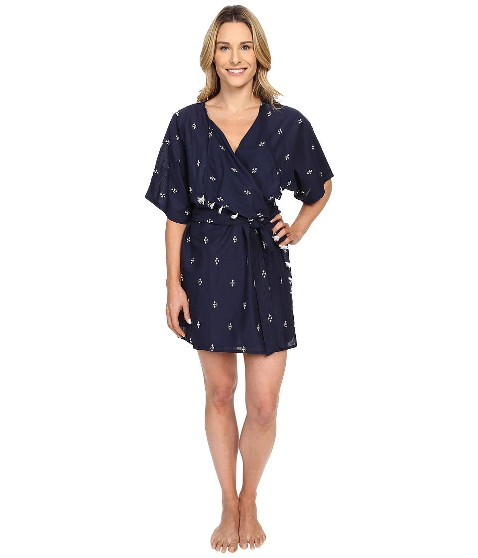 Lucky Brand - Woven Kimono (Geo Embroidery True Indigo) Women's Pajama