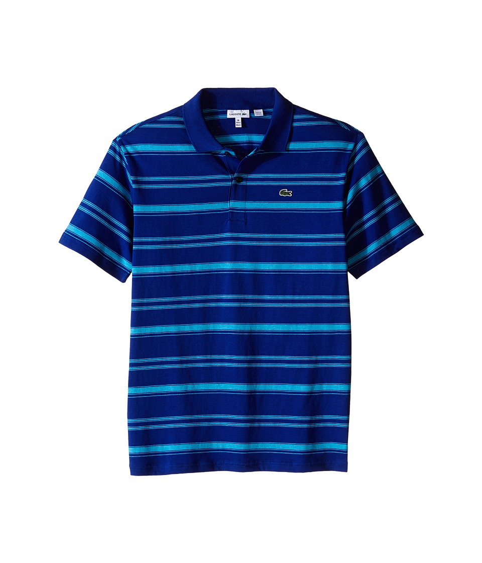 Lacoste Kids - Short Sleeve Striped Jersey Polo (Toddler/Little Kids/Big Kids) (Explorer Blue/Paradisiac Turquoise Chine) Boy's Short Sleeve Pullover