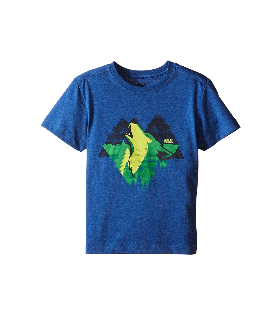 Jack Wolfskin Kids - Howling Wolf T-Shirt (Little Kid/Big Kid) (Peacock Blue) Boy's Short Sleeve Pullover
