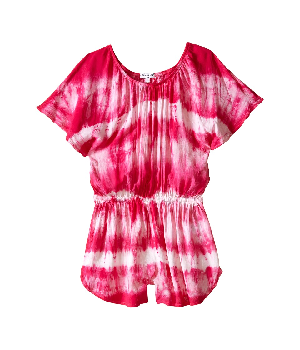 Splendid Littles - Tie-Dye Romper (Big Kids) (Dark Pink) Girl's Jumpsuit & Rompers One Piece