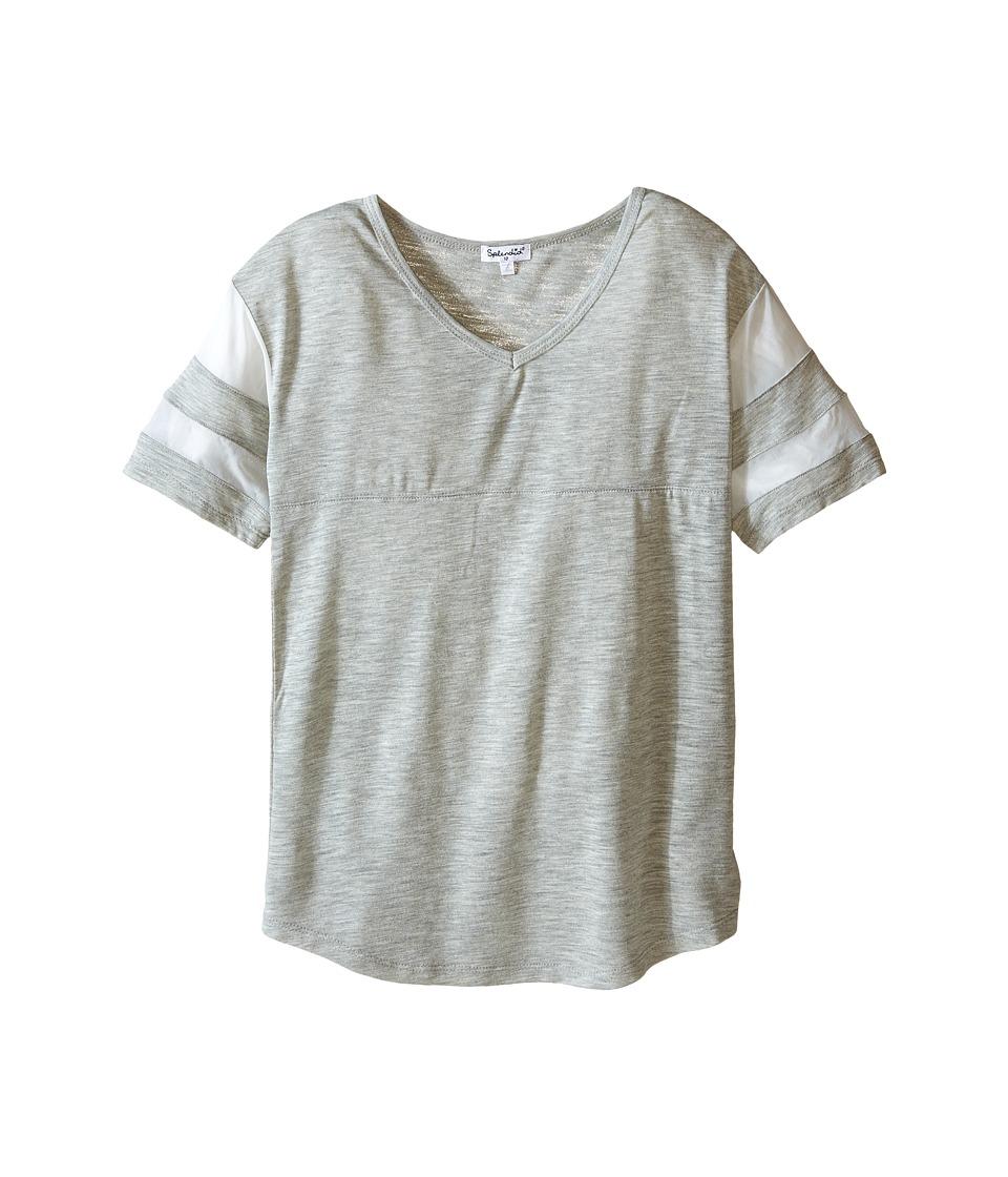 Splendid Littles - Short Sleeve Mesh Top (Big Kids) (Grey Heather) Girl's Short Sleeve Pullover