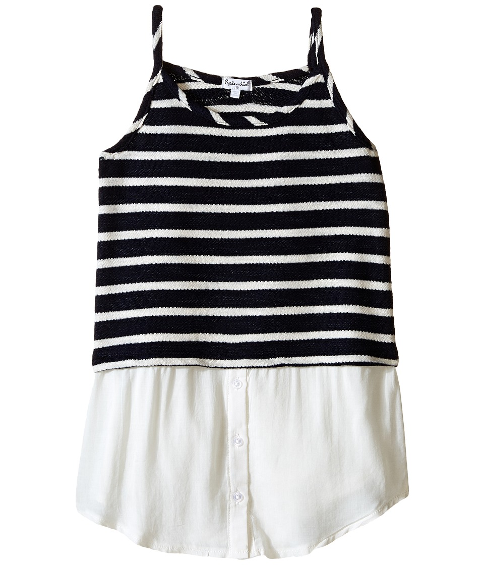 Splendid Littles - Striped Split Loose Knit Tank Top (Big Kids) (Navy) Girl's Sleeveless