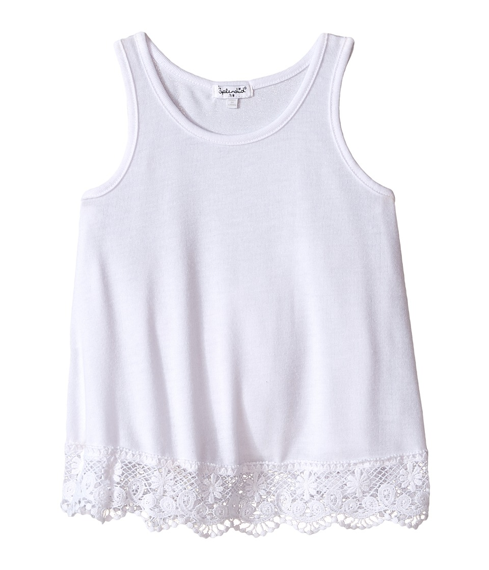 Splendid Littles - Loose Knit Tank Top with Lace Hem (Big Kids) (White) Girl's Sleeveless