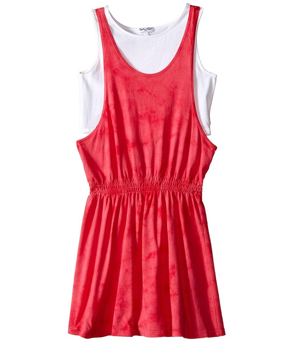 Splendid Littles Tie-Dye Dress with Tank Top (Big Kids) (Dark Pink) Girl