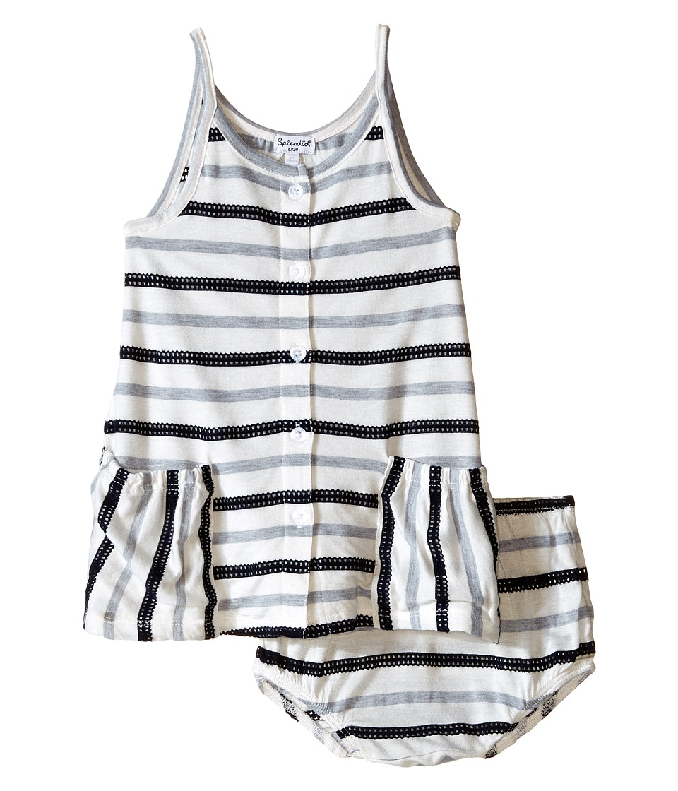 Splendid Littles - Striped Mesh Dress (Infant) (Navy) Girl's Dress