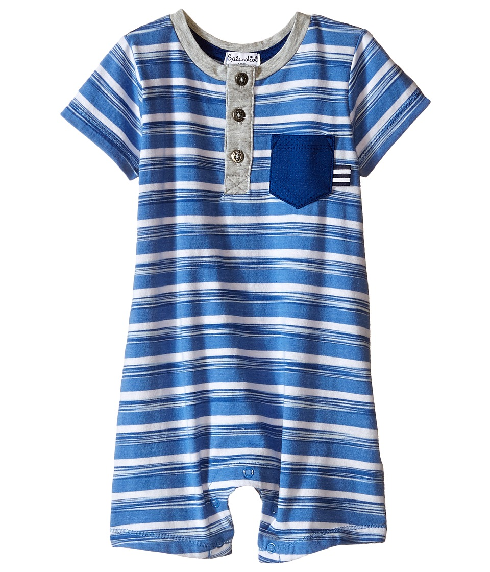 Splendid Littles - Space Dye Stripe Romper (Infant) (Light Blue) Boy