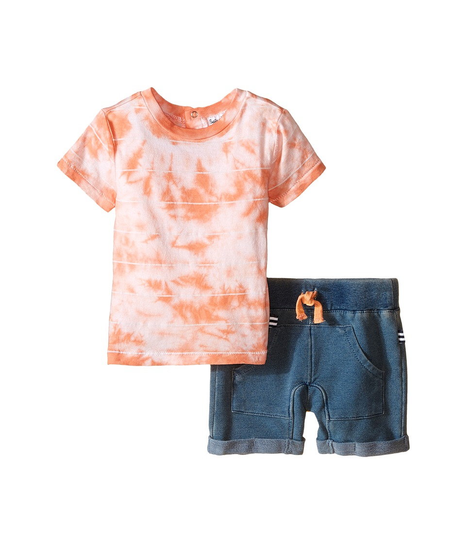 Splendid Littles - Striped Tie-Dye Tee with Indigo Shorts (Orange) Boy's Active Sets