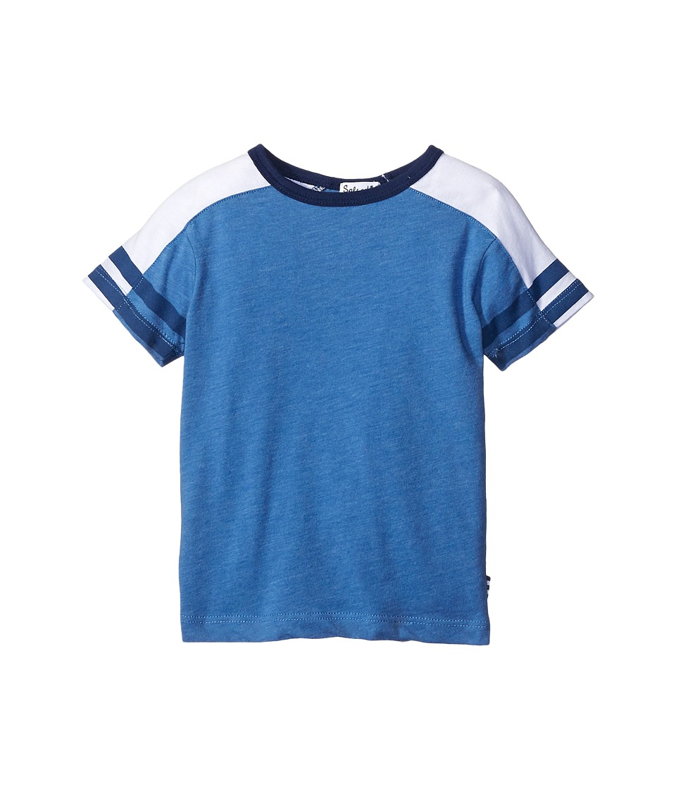 Splendid Littles - Short Sleeve Raglan Crew with Stripe Sleeves (Toddler) (Light Blue) Boy