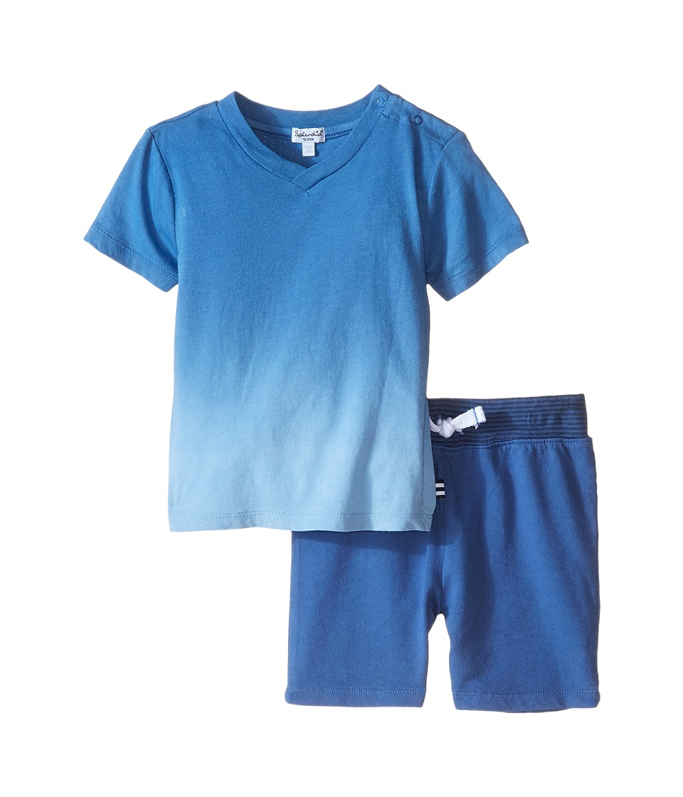 Splendid Littles - Reverse Dip Dye Tee with Shorts (Infant) (Blue) Boy's Active Sets