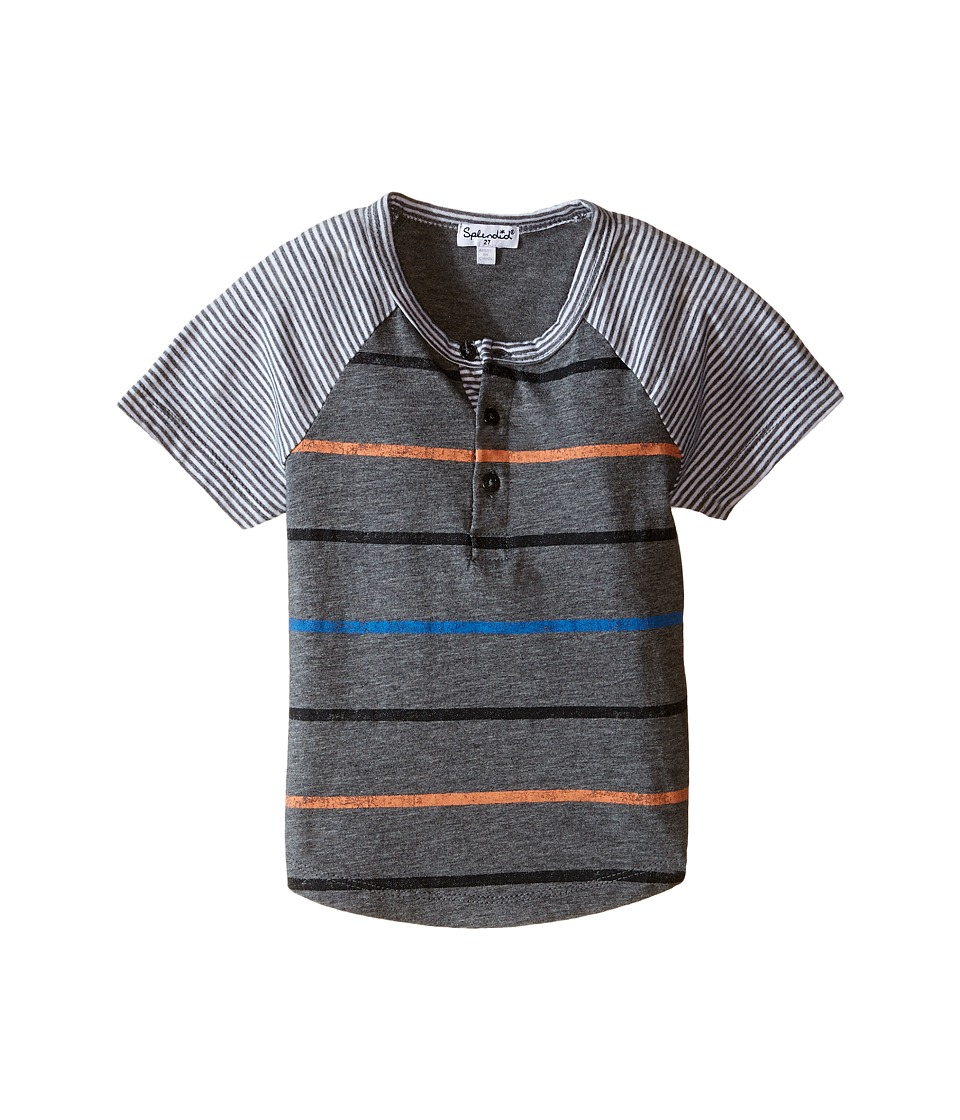 Splendid Littles - Mixed Stripe Short Sleeve Raglan Crew (Toddler) (Stripe) Boy's Short Sleeve Pullover