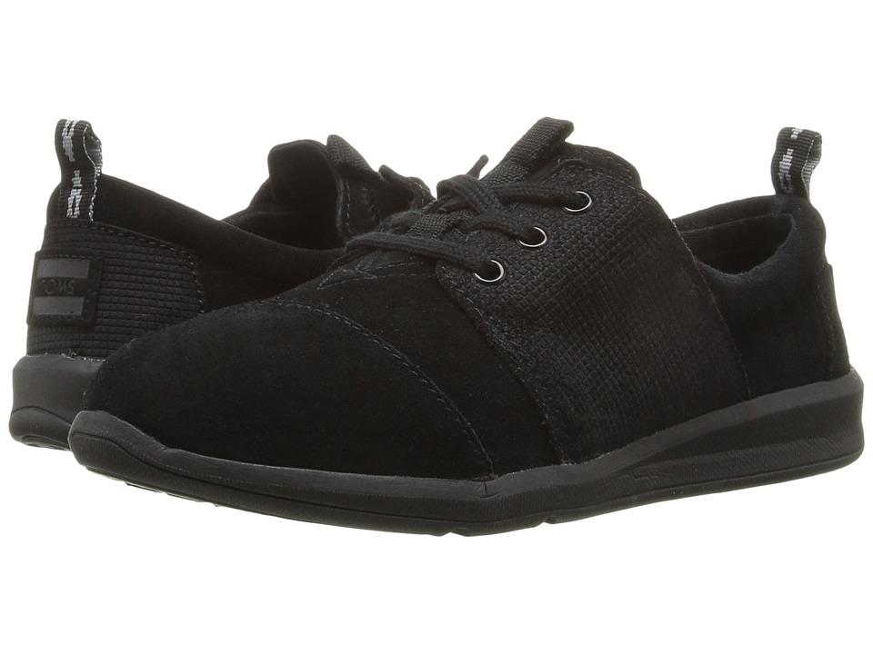 TOMS Kids - Del Rey Sneaker (Little Kid/Big Kid) (Black Embossed Suede) Boys Shoes