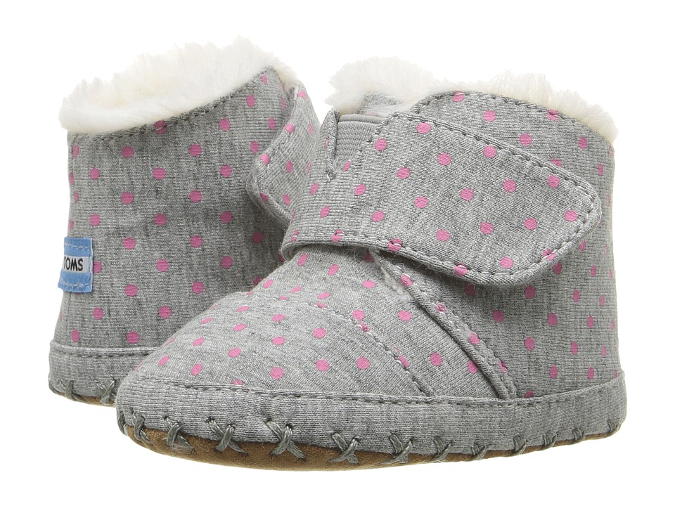 TOMS Kids - Cuna Layette (Infant/Toddler) (Grey Jersey Polka Dots) Kids Shoes