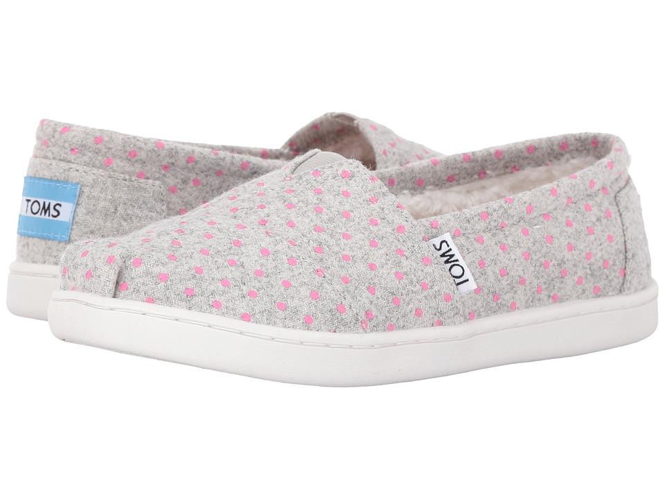 TOMS Kids - Seasonal Classics (Little Kid/Big Kid) (Grey Wool Polka Dots) Girls Shoes