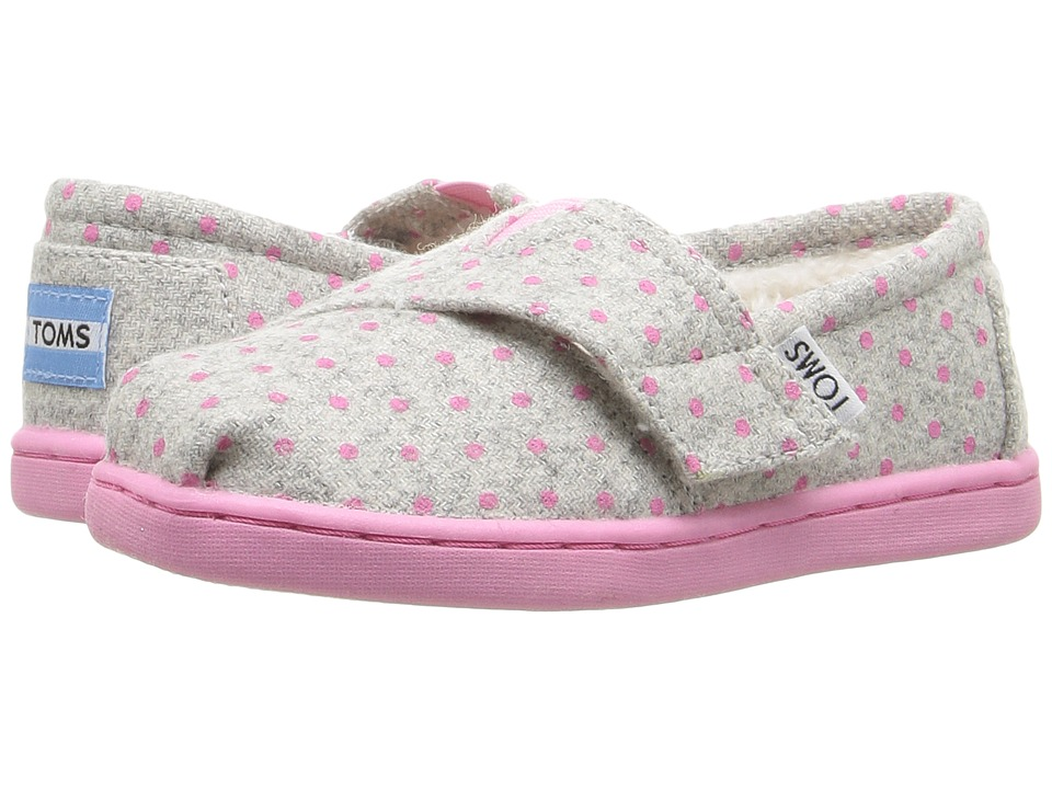 TOMS Kids - Seasonal Classics (Infant/Toddler/Little Kid) (Grey Wool Polka Dots) Girls Shoes