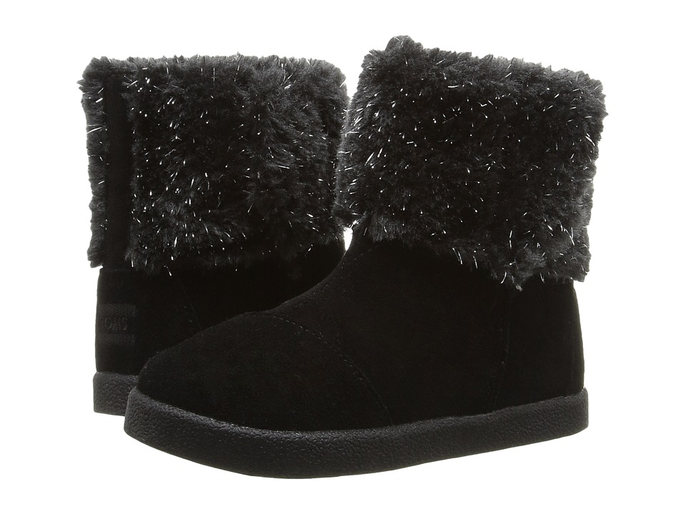 TOMS Kids Nepal Boot (Infant/Toddler/Little Kid) (Black Suede/Metallic Faux Fur) Girls Shoes