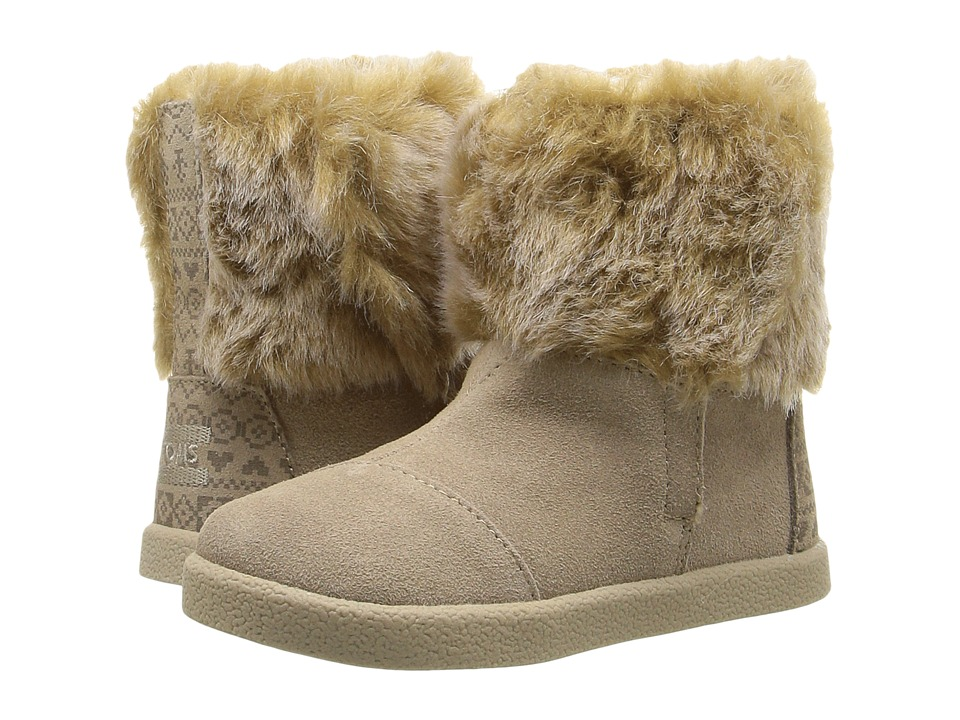TOMS Kids - Nepal Boot (Infant/Toddler/Little Kid) (Oxford Tan Suede/Faux Fur) Girls Shoes