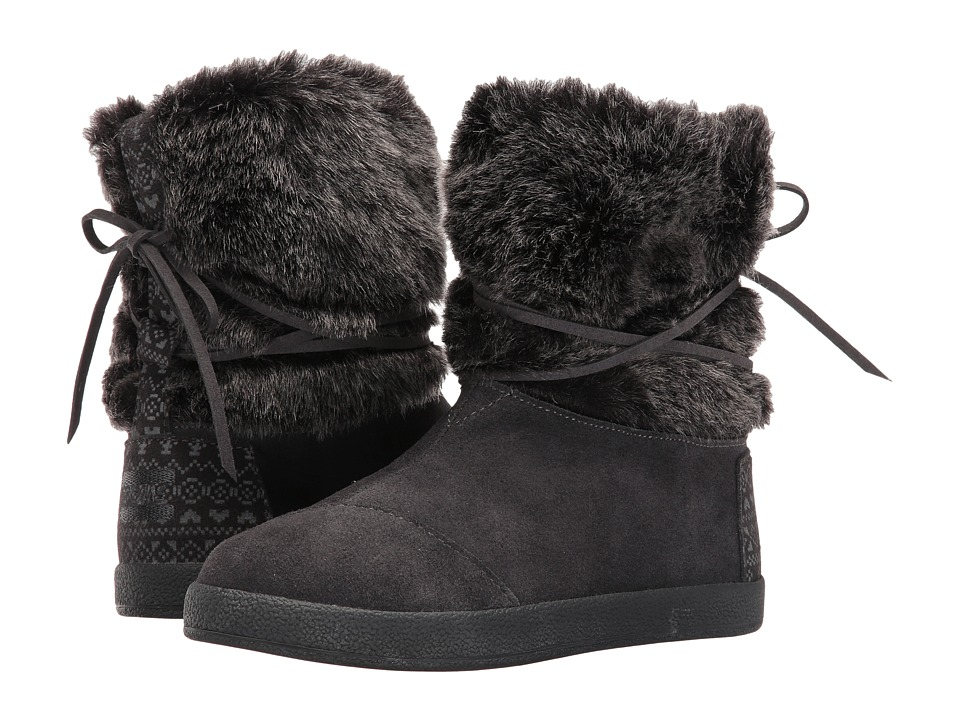 TOMS Kids - Nepal Boot (Little Kid/Big Kid) (Castlerock Grey Suede/Faux Fur) Girls Shoes