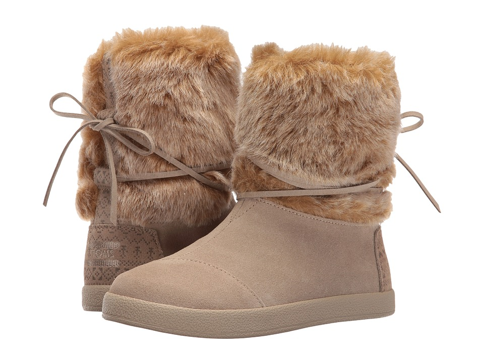 TOMS Kids - Nepal Boot (Little Kid/Big Kid) (Oxford Tan Suede/Faux Fur) Girls Shoes