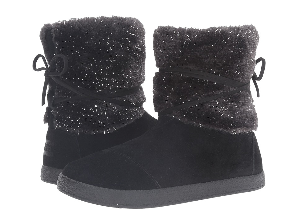 TOMS Kids - Nepal Boot (Little Kid/Big Kid) (Black Suede/Metallic Faux Fur) Girls Shoes