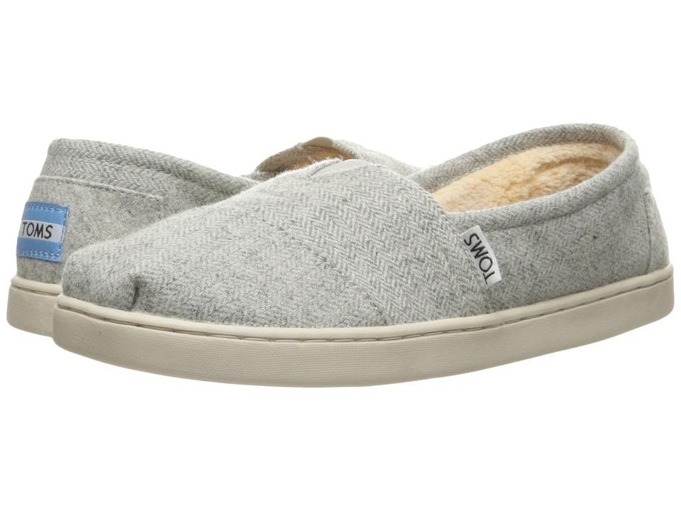 TOMS Kids Seasonal Classics (Little Kid/Big Kid) (Light Grey Herringbone/Shearling) Girls Shoes