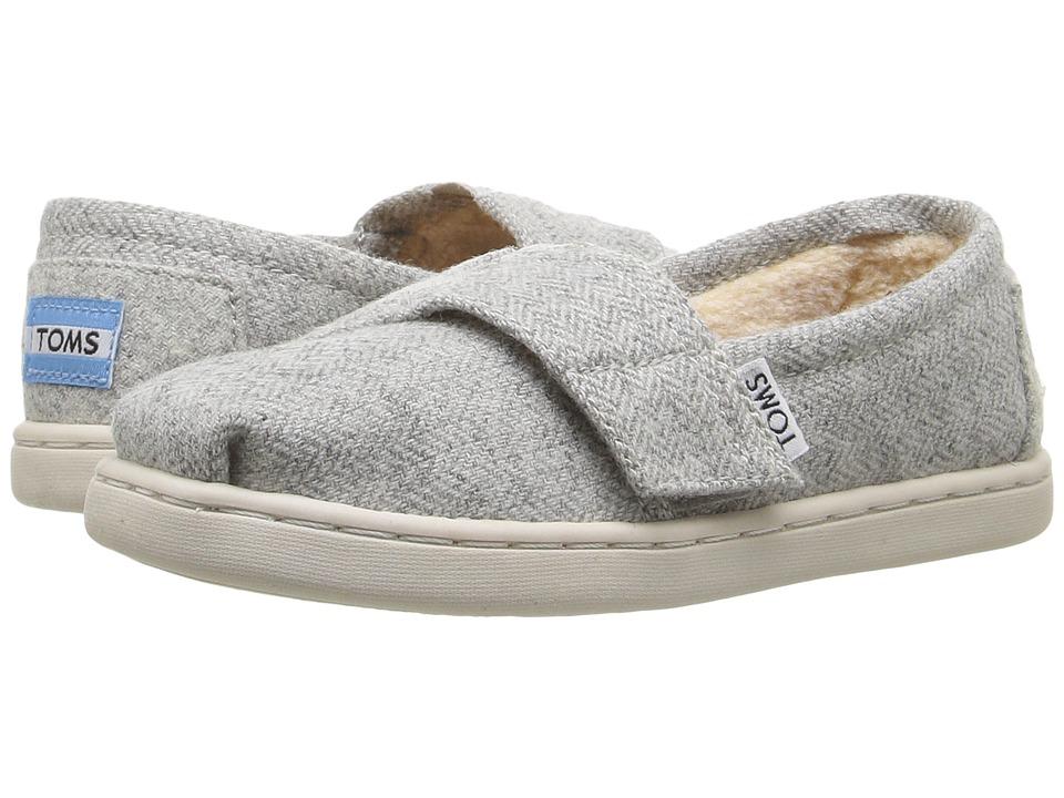 TOMS Kids Seasonal Classics (Infant/Toddler/Little Kid) (Light Grey Herringbone/Shearling) Girls Shoes