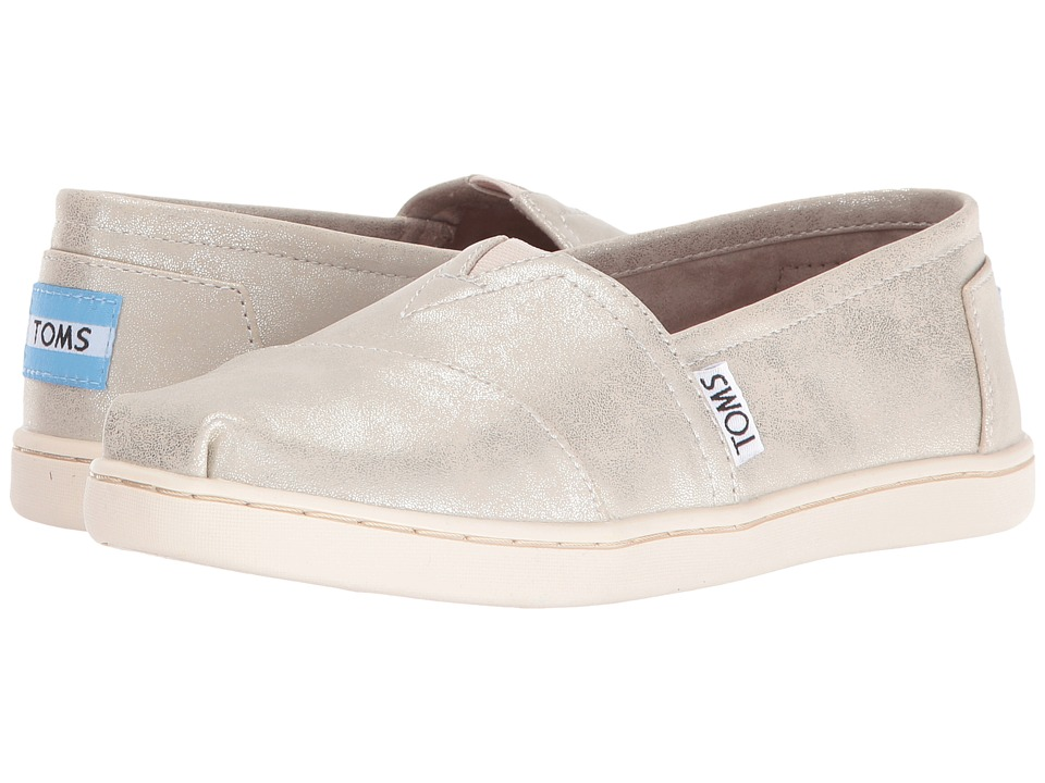 TOMS Kids - Seasonal Classics (Little Kid/Big Kid) (White Gold Metallic Synthetic Leather) Girls Shoes