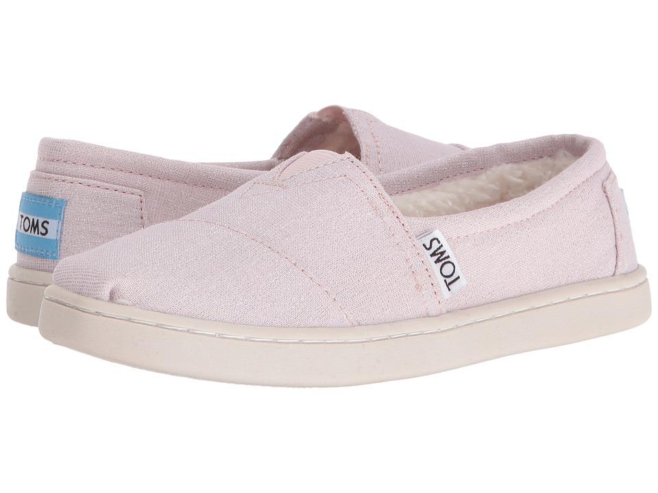 TOMS Kids - Seasonal Classics (Little Kid/Big Kid) (Pink Metallic Woven/Shearling) Girls Shoes