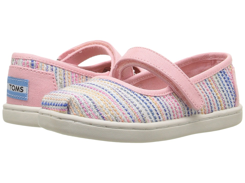 TOMS Kids - Mary Jane Flat (Infant/Toddler/Little Kid) (Pink Metallic Woven) Girls Shoes