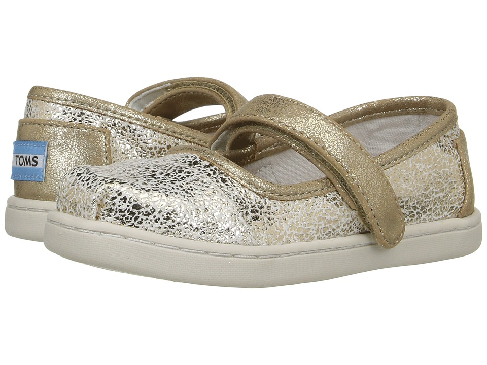 TOMS Kids - Mary Jane Flat (Infant/Toddler/Little Kid) (Gold Metallic Foil) Girls Shoes