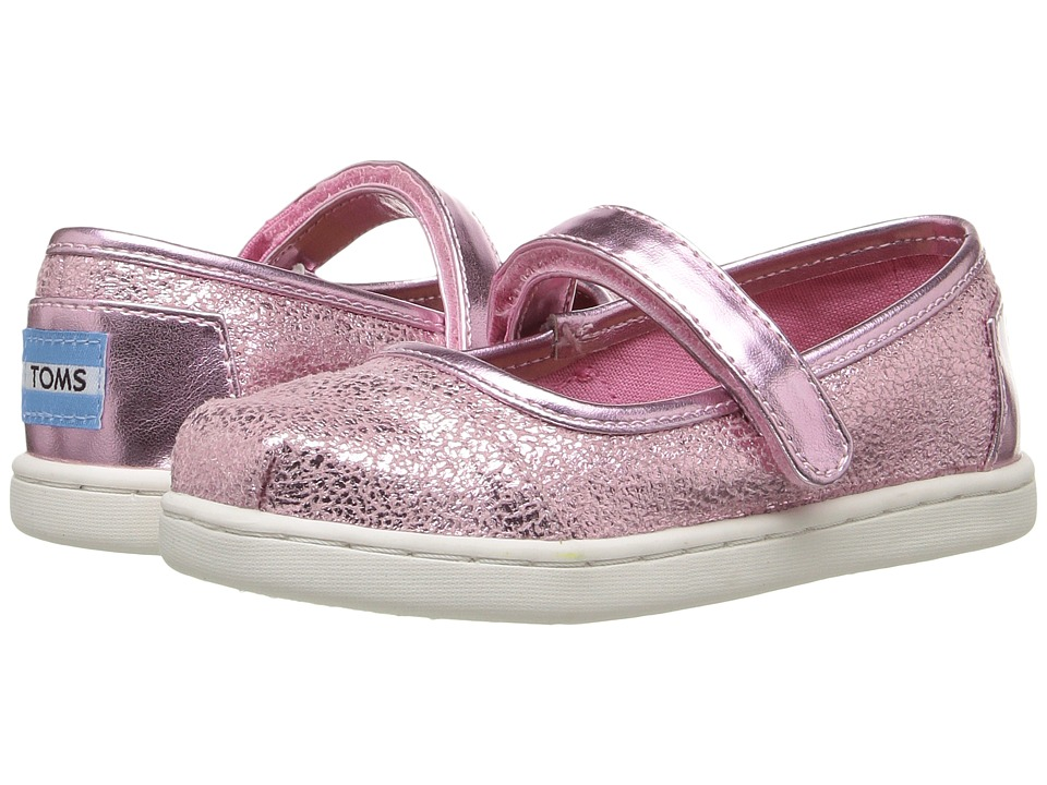TOMS Kids - Mary Jane Flat (Infant/Toddler/Little Kid) (Pink Metallic Foil) Girls Shoes