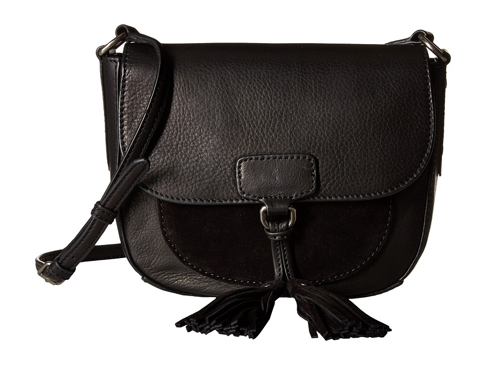 Frye - Clara Saddle (Black Soft Vintage Leather/Suede) Handbags