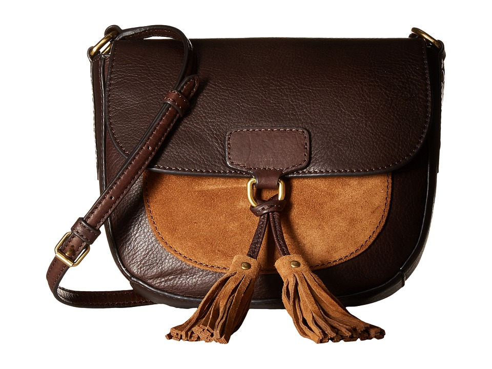 Frye - Clara Saddle (Dark Brown Soft Vintage Leather/Suede) Handbags