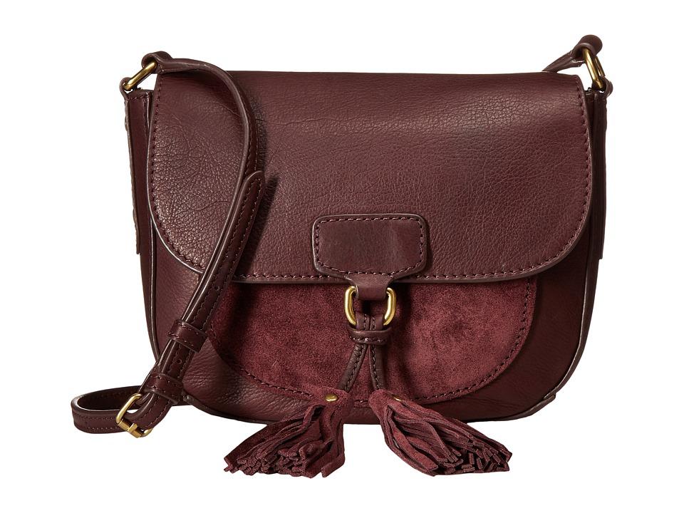 Frye - Clara Saddle (Wine Soft Vintage Leather/Suede) Handbags