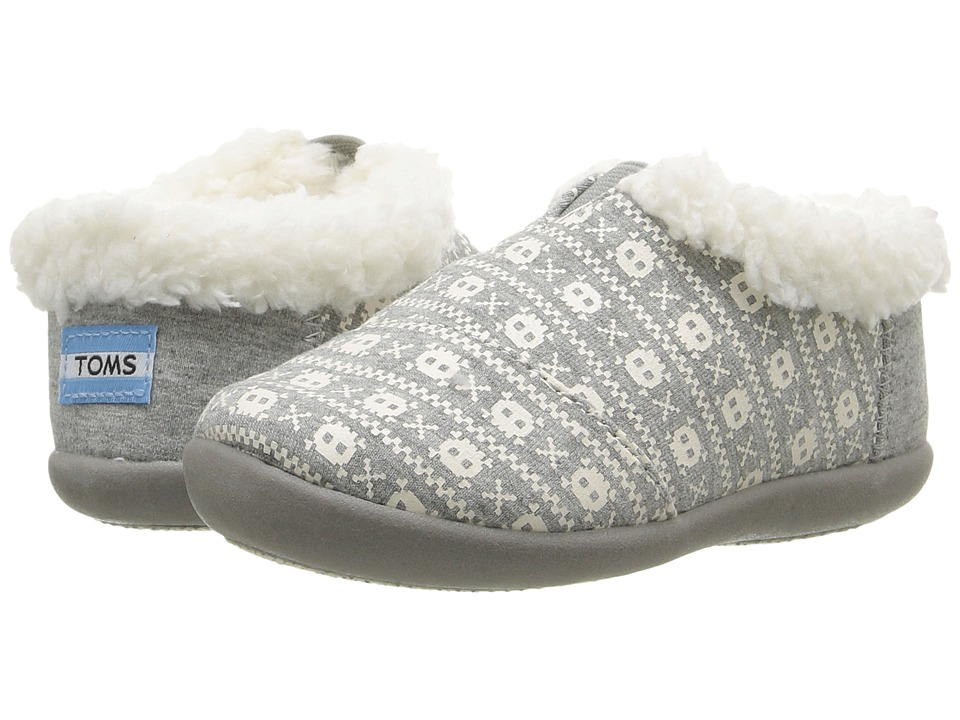 763f99943a9 TOMS Kids House Slipper (Infant Toddler Little Kid) (Grey Jersey Skulls)  Kids Shoes