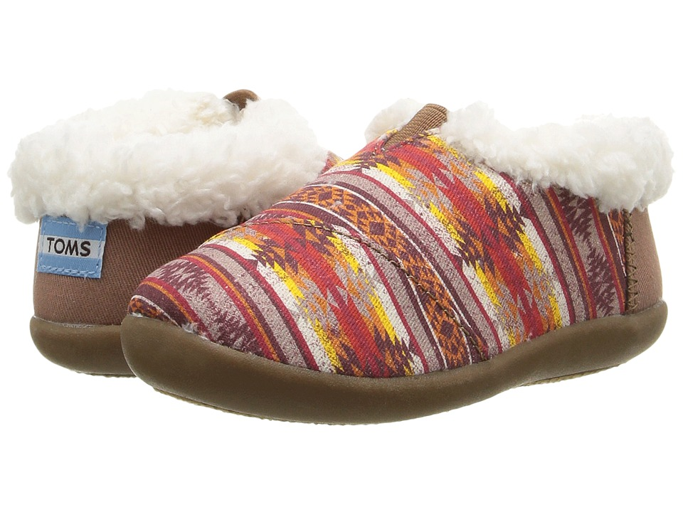 TOMS Kids - House Slipper (Infant/Toddler/Little Kid) (Brown Twill Pendleton Stripe) Kids Shoes