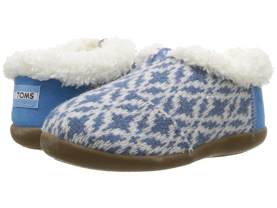TOMS Kids House Slipper (Infant/Toddler/Little Kid) (Blue Fair Isle) Kids Shoes