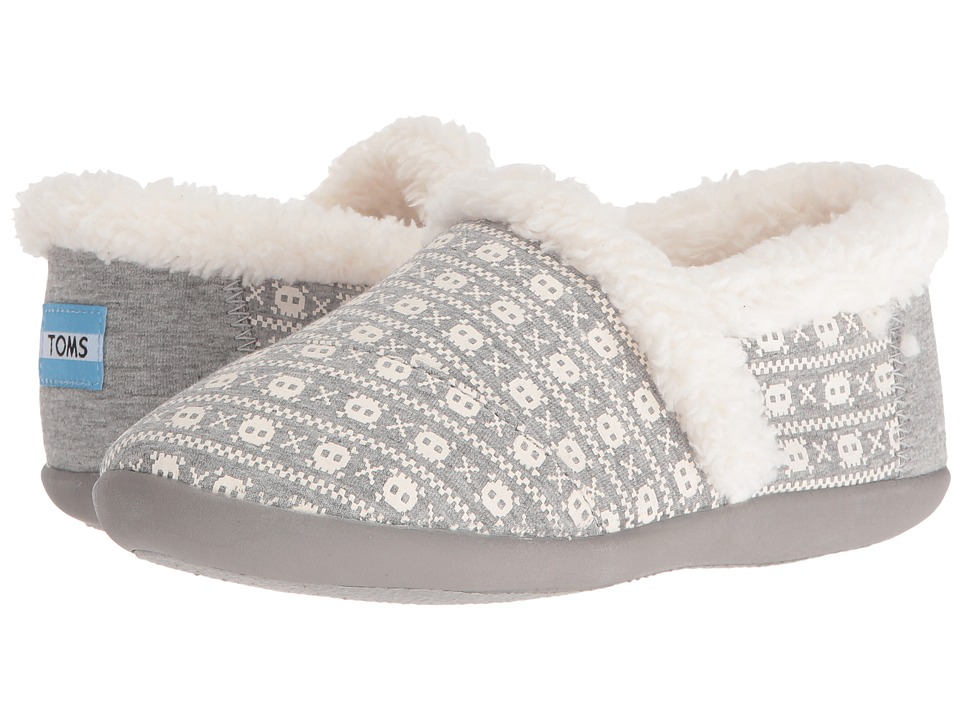 TOMS Kids - House Slipper (Little Kid/Big Kid) (Grey Jersey Skulls) Kids Shoes
