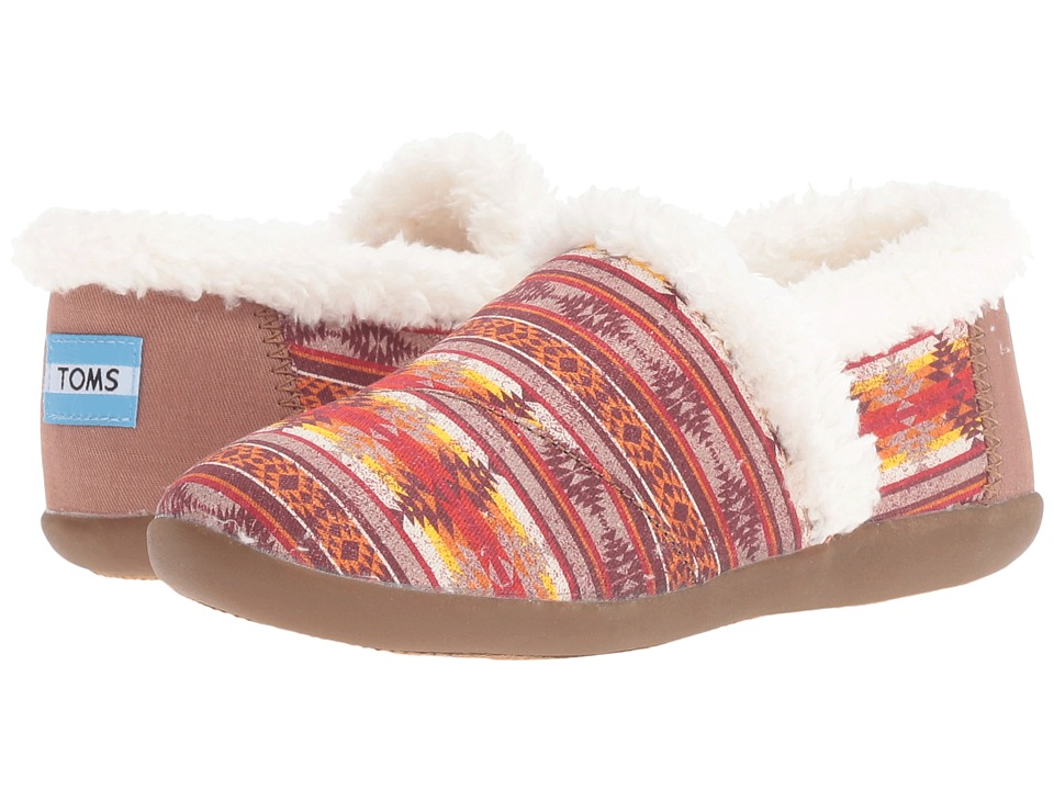 TOMS Kids - House Slipper (Little Kid/Big Kid) (Brown Twill Pendleton Stripe) Kids Shoes