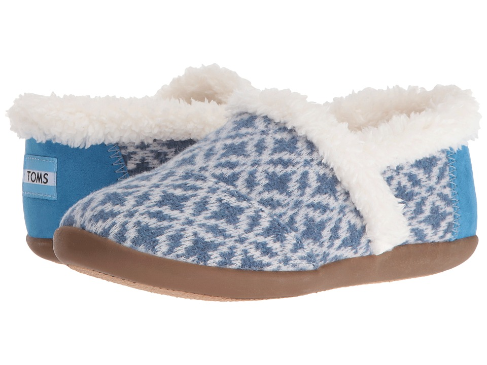 TOMS Kids - House Slipper (Little Kid/Big Kid) (Blue Fair Isle) Kids Shoes