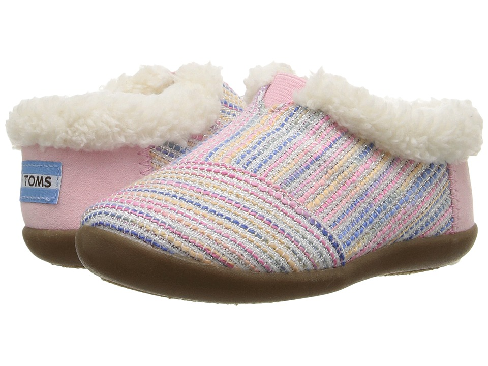 TOMS Kids - House Slipper (Infant/Toddler/Little Kid) (Pink Metallic Woven) Girls Shoes