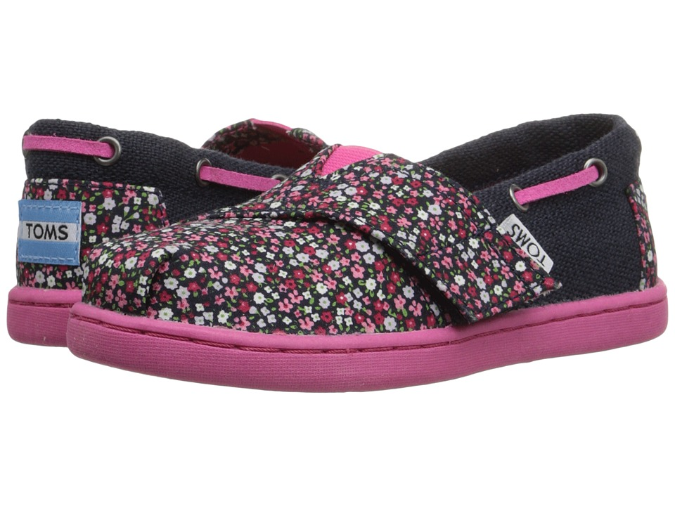 TOMS Kids - Bimini Espadrille (Infant/Toddler/Little Kid) (Pink Ditsy Floral/Burlap) Girls Shoes