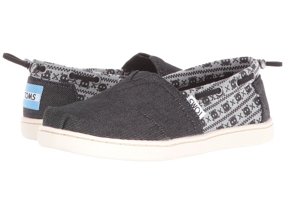 TOMS Kids - Bimini Espadrille (Little Kid/Big Kid) (Black Denim/Chambray Skulls) Boys Shoes