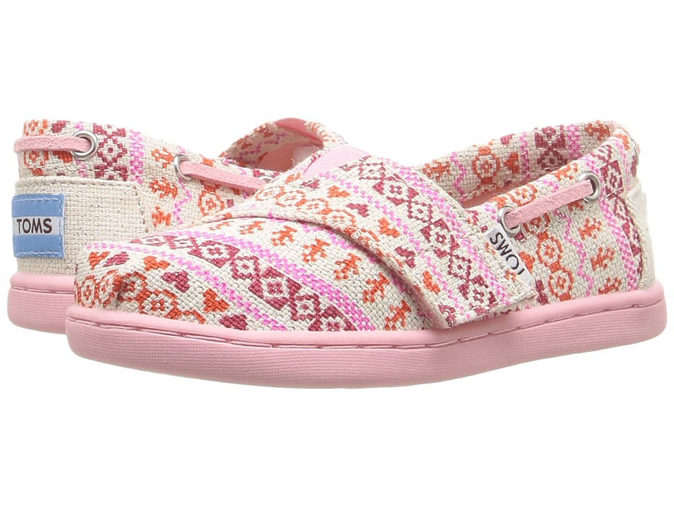 TOMS Kids - Bimini Espadrille (Infant/Toddler/Little Kid) (Pink Fair Isle/Metallic Woven) Girls Shoes