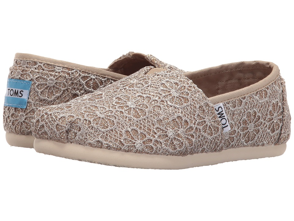 TOMS Kids - Seasonal Classics (Little Kid/Big Kid) (Rose Gold Crochet Glitter) Girls Shoes